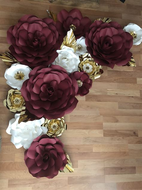 burgundy white  gold paper flowers  images