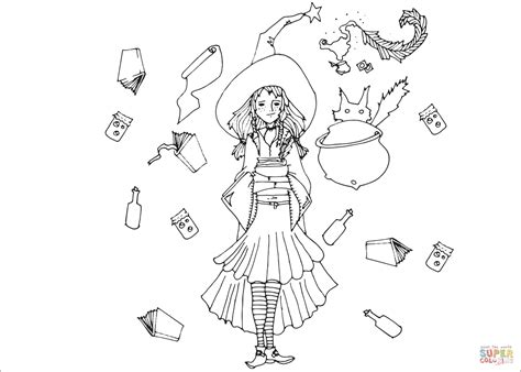 magical school girl witch coloring page  printable