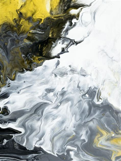 Abstract Acrylic Painting On Black Background by Abstract Painted Black And White With Gold Background