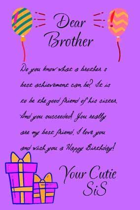 happy birthday letter  brother  sister