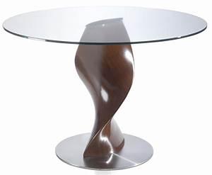 Table Ronde Verre Et Bois : table ronde bois noyer en fibre de verre plateau en verre torsada dimensions d 110 x h 76 cm ~ Teatrodelosmanantiales.com Idées de Décoration