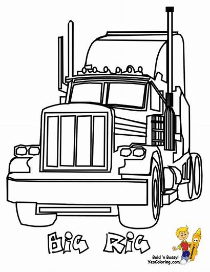Coloring Truck Pages Rig Easy Colouring Boys