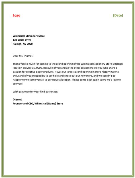 thank you letter template business free thank you letter best business thank you letter sles to stay professional 63032