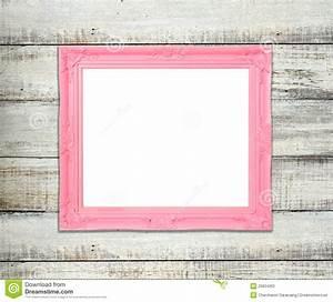 Pink Vintage Picture Frame On Blue Wood Background Stock ...