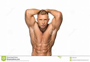 Attractive Male Body Builder On White Background Stock Photo