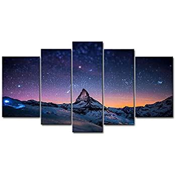 Amazon.com: 5 Panel Wall Art Blue Colorful Space Nebula