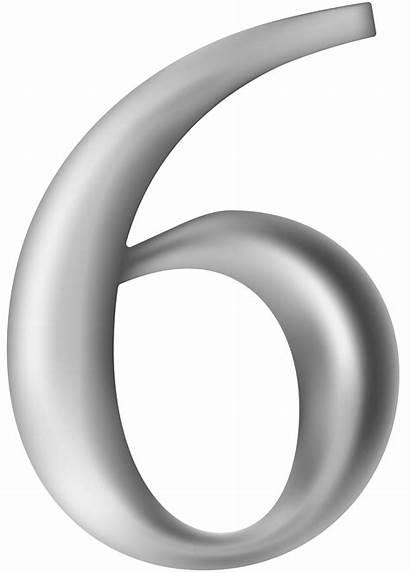 Number Grey Six Clipart Numbers Decorative Transparent