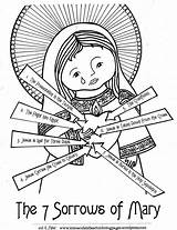 Coloring Sorrows Lady Mary Catholic Seven Feast Heart Blessed Church Crafts September 15th Immaculate Poor Mother Patrick Children Domestic Celtic sketch template