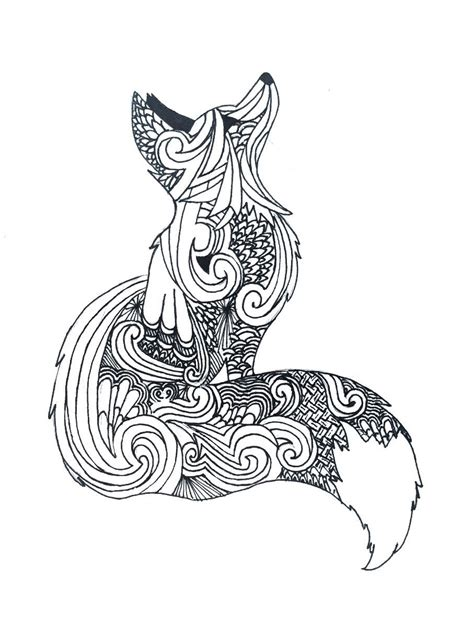 zentangle fox art fox coloring page animal coloring