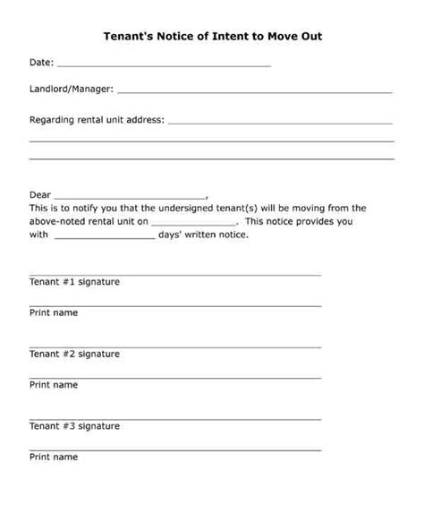 printable letter tenants notice  intent  move