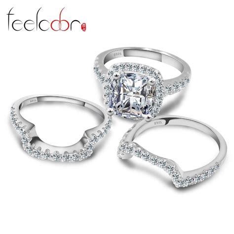 three princess cz engagement wedding ring set genuine 925