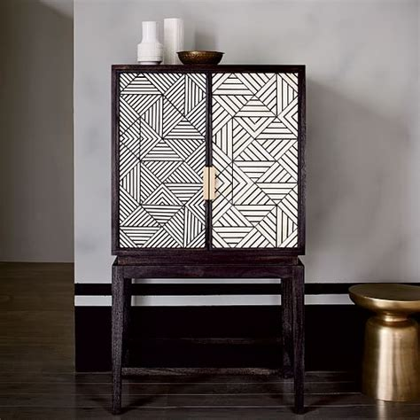 bone inlaid bar cabinet west elm