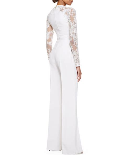white jumpsuit with sleeves elie saab sleeve lace embellished jumpsuit white