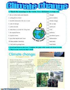 climate change worksheets   exercises