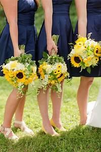 navy bridesmaids dresses sunflower bouquets katelyn With sunflower wedding bridesmaid dresses