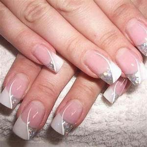 French tips with white line and silver glitter | Nails ...