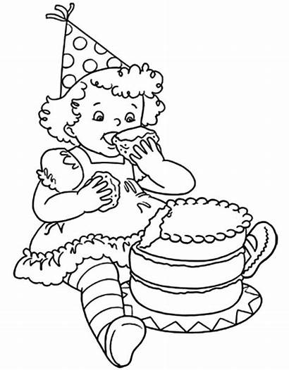Coloring Cake Birthday Chocolate Eat Cakes Netart