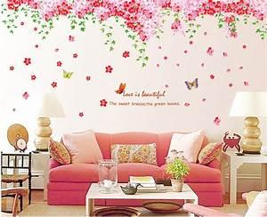 ufengke® Romantiche Farfalle Fiore di Ciliegio Adesivi Murali, Camera da Letto Soggiorno Adesivi