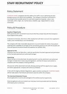 Staff Policy Template Staff Recruitment Policy Template For Recruitment Agencies
