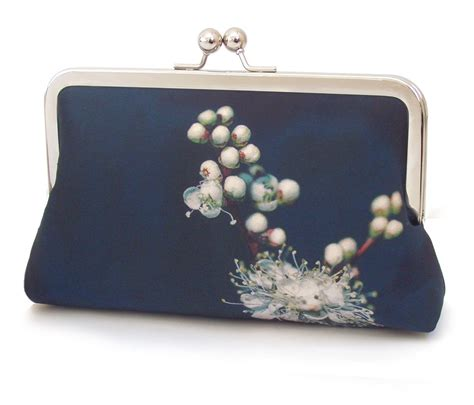 meadowsweet white blossom clutch bag flower purse printed silk handbag red ruby rose
