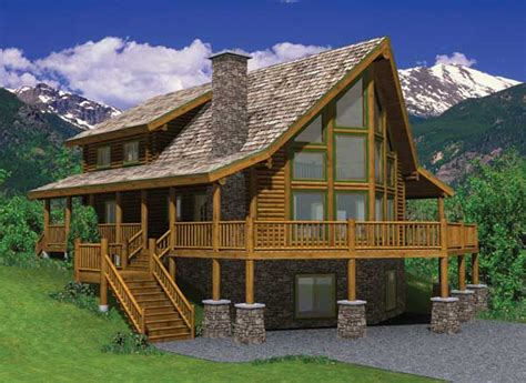 hillside cabin plans hillside log home plan mywoodhome com