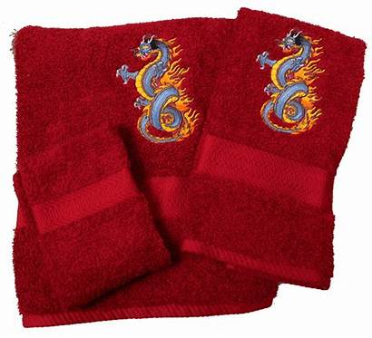 Dragon Towels Bath Embroidered Towel
