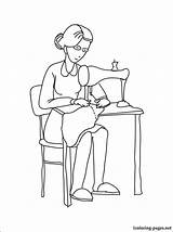 Seamstress Coloring Pages Profession Occupation Professions Printable sketch template