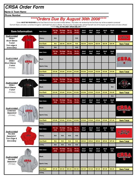 shirt order form template excel uive africaonomen