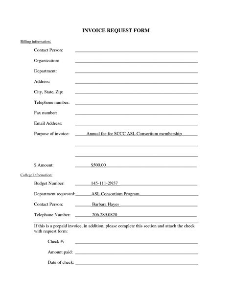 invoice request form template invoice template ideas