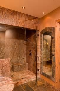 Camo Bathroom Decor Ideas by Steam Shower Amp Slate Framed Mirror Rustic Bathroom