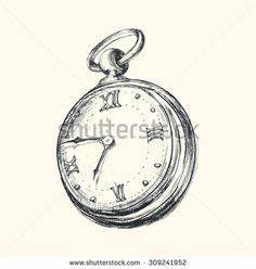 Pocket Watch Black and White Ink Drawing vintage | FUN ...