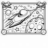 Coloring Pages Printable Space Spaceship Popular sketch template