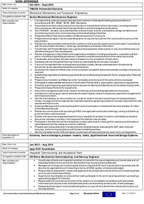Piping Engineer Resume And Gas by Cv Field Mechanical And Piping Engineer