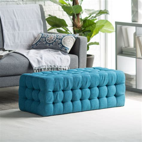 Who Are Ottomans by Belham Living Allover Tufted Rectangle Ottoman Teal