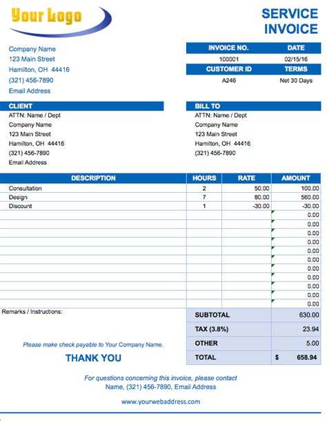 Service Invoice Template Free Excel Invoice Templates Smartsheet