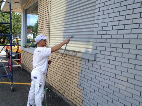 peinture sur brique exterieur peintre commercial exemple de chantier de peinture a mont joli