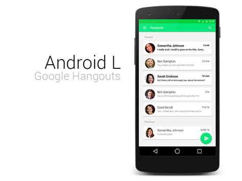 hangouts android android l hangouts by jaron pulver dribbble