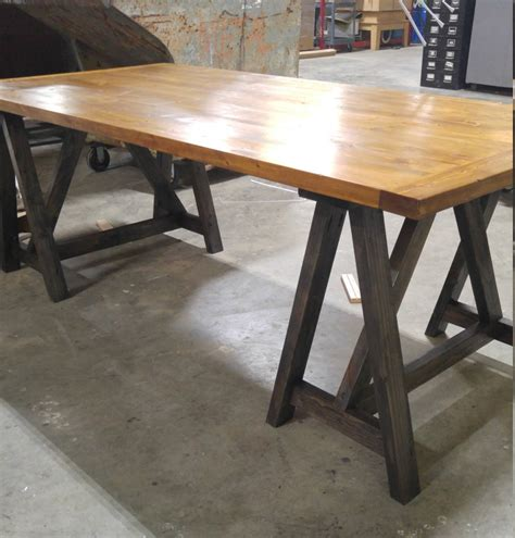 rustic industrial loft style sawhorse wood desk kitchen table office conference table
