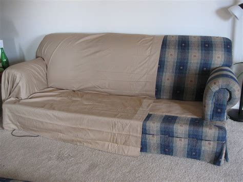 cover sofa with sheet covers from two bed sheets and upholstery pins decor details