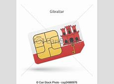 Gibraltar mobile phone sim card with flag vector