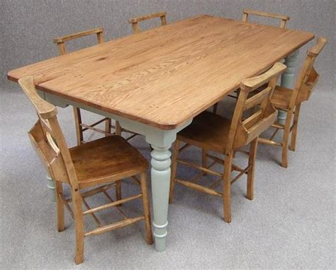 oak farmhouse kitchen table six vintage chapel chairs