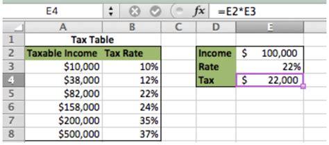 excel formula basic tax rate calculation  vlookup