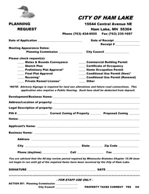 mn conveyance forms fillable online ci ham lake mn application for planning