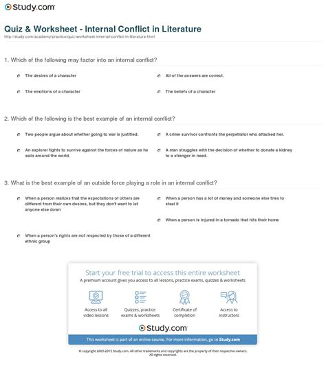 conflict in literature worksheets resultinfos