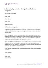 Letter accepting retraction of resignation… | CIPD HR-inform