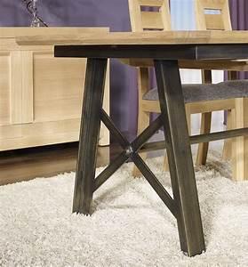 Table Bois Et Fer : table rectangulaire loann en ch ne et fer 191x101 avec 2 allonges de 45 cm meuble en ch ne massif ~ Teatrodelosmanantiales.com Idées de Décoration