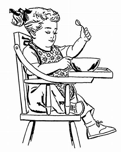 Coloring Chair Bib Child Toddler Clipart Eating