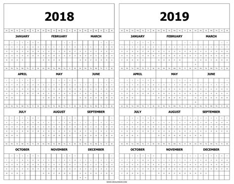 printable calendar year   glance