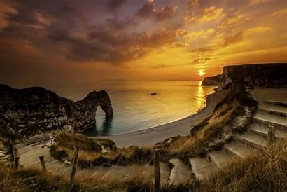 Dorset England Sunset Durdle Door Landscape Rock