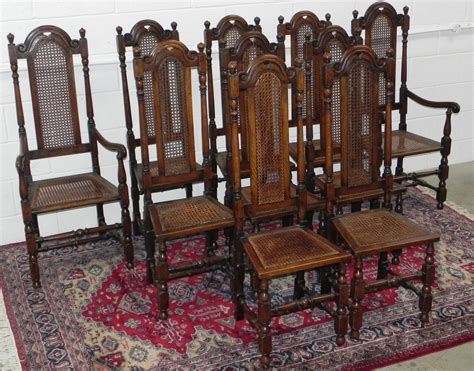 10 Antique 19thc Oak Cane Dining Chairs  Antiques Atlas